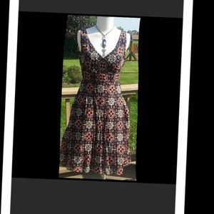 Fit & flare printed &  lined sundress